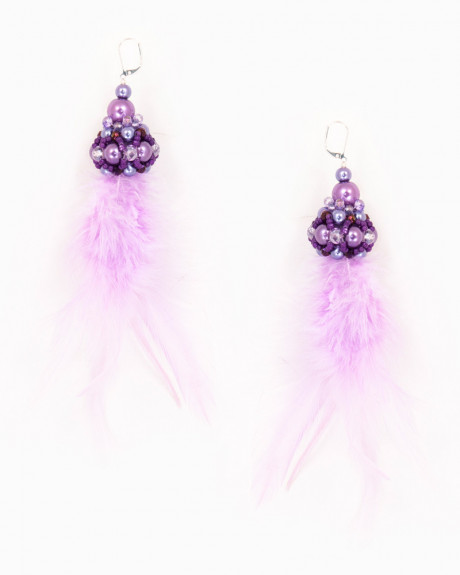 PURPLE FEATHER DROP | cercei statement lungi cu pene