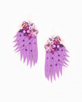 PURPLE WINGS - cercei statement aripi mov TORTITE ARGINT 925