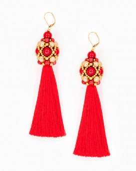 RED TASSEL DROP | cercei statement lungi ciucure