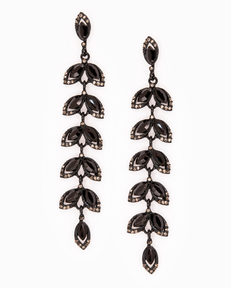 ELECTRA EARRINGS | cercei statement lungi frunzulițe negre