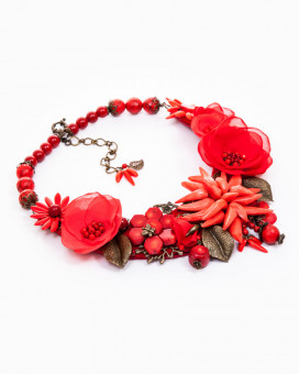 LOVE STORY - colier statement floral maci roșii și coral