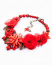 LOVE STORY | colier statement floral maci roșii și coral