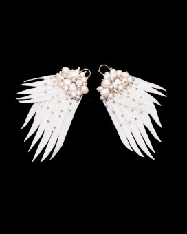 ANGEL WINGS - cercei statement aripi albi