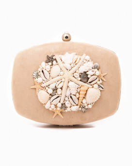 MOTHER OF PEARLS CLUTCH - poseta inspiratie oceanica crem