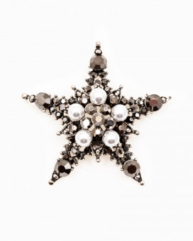 GREY CRYSTAL STAR BROCHE - brosa stea cristale si perle
