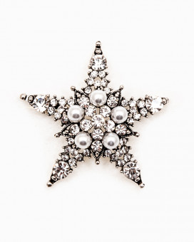 WHITE CRYSTAL STAR BROCHE - brosa stea cristale si perle