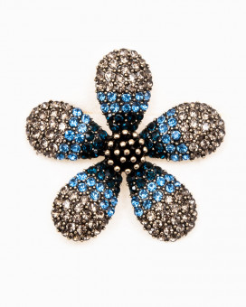 BLUE DAISY BROCHE - brosa floare cristale incrustate