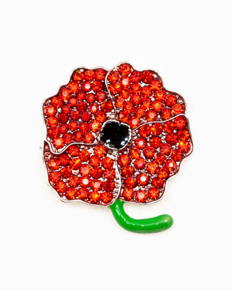 LITTLE POPPY BROCHE - brosa maci cristale