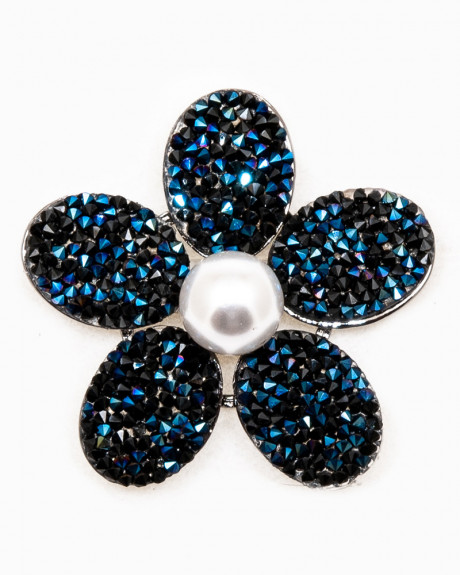 BLUE FLOWER BROCHE - brosa floare albastra cristale