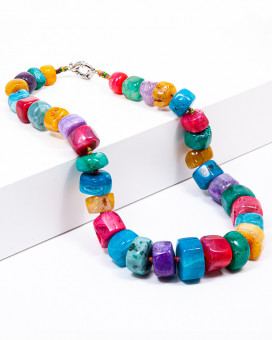 PARADISO - colier statement agate multicolor