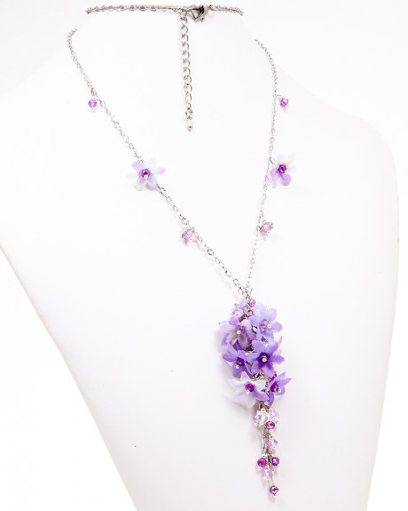 VIVID PURPLE DROP - COLIER LUNG FLORAL, MOV, CRISTALE