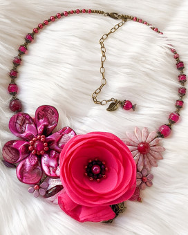 CANDY PINK - colier statement inspiratie florala roz